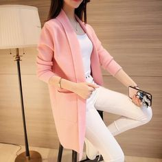 2017 New Spring Autumn Knitted Sweater Cardigan Women Winter Jacket Loose Big Yards Joker Casual Long Sweaters Coat Harajuku – Daily Fashion Trends 2020 Long Sweater Coat, Cardigan Sweaters For Women, Long Sweaters, Cardigans For Women, Coats For Women, Jumper, Sweater Cardigan, Girls Fashion Clothes, Fashion Outfits