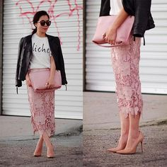 Christian Louboutin Shoes, Lace Skirt, Pink Clutch, Zara Leather Jacket