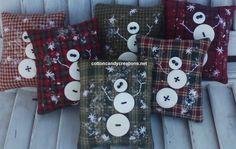 Snowman Button Pillows