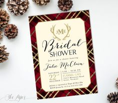 Holiday Winter Bridal Shower Invitation: Christmas Red Flannel, Plaid, Gold Glitter Antler Monograms, Shower invite - Holiday Invite #16