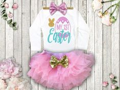 My 1st Easter OutfitBaby Girl Easter ClothesPERFECT for any little girl's 1st Easter!SELECT YOUR OPTIONS FROM THE DROP DOWN:BODYSUIT:Adorned with a sparkly, ad