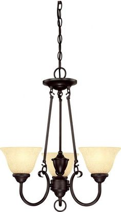Features:  -Contemporary design.  -UL listed.  Chandelier Type: -Mini chandelier.  Finish: -Dark Bronze.  Material: -Metal.  Number of Lights: -3.  Bulb Type: -Incandescent.  Bulb Wattage: -60 Watts.