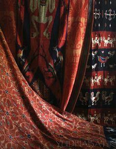 "Hinggi kombu from Sumba..my Sumbanese ikat collection in red color (kain kombu, named after the use of 'akar kombu' or noni tree root to produce the red color from natural coloring agent). Its pattern/fabric name from left : ""Hinggi patola bunga"", ""Hinggi tau"", ""Hinggi kaliuda"""