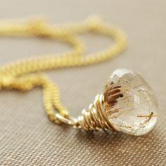 Gold Rutilated Quartz Necklace, 14k Gold Wire Wrapped Gemstone Pendant Handmade