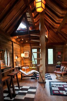 """interior-design-home: """"Tree house living area with a sleeping loft at the top of the stairs - located near the Crystal River in Colorado. × """" see similar interior designs here:. Log Homes, Tiny Homes, Tree House Homes, Tree House Interior, Interior Stairs, Interior Architecture, Interior Design, Interior Ideas, Pavilion Architecture"""