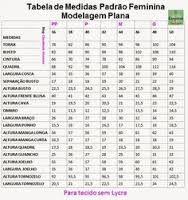 Resultado de imagem para tabela de medidas para malha