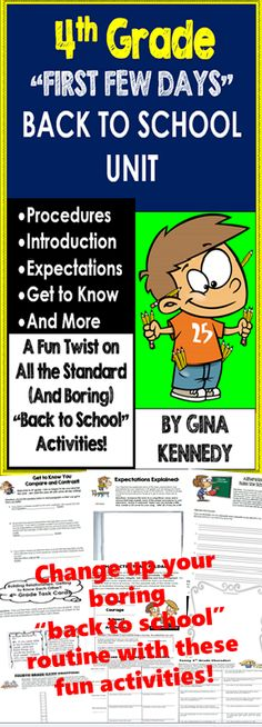 "Start your 4th grade year off right, with these fun creative ""back to school"" activities! This unit includes introductory activities, procedural and expectation activities as well as exciting ""get to know you"" fun. From writing a ""Top Twenty"" hit about the expectations, to alliterating the rules, to a poster competition, or even creating a self-esteem timeline, your students will be fully engaged from day one. Move away from the same boring and dull ""back to school routines and strategies…"