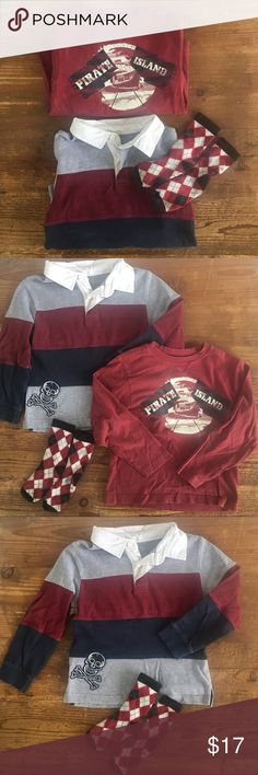 Gymboree lot 3 pirate tee, rugby, socks Ahoy there matey! All Gymboree brand items! One super cool. long sleeve soft maroon pirate tee and  a warm maroon/navy/rugby shirt, both  size 6,  for your little mate in excellent condition, shows minor normal wash wear. As an added bonus the shirts come with a pirate colored pair of black and maroon matching argyle socks! Same condition :)   Retail $68  BUNDLE FOR MORE SHIPPING POWER! PLEASE BROWSE MY AMAZING CLOSET! Gymboree Matching Sets
