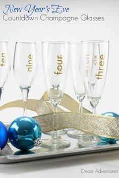 countdown champagne glasses