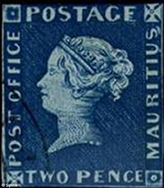 The elusive ' Post Office Mauritius' two penny blue stamp fetched just over million to become the most valuable ever sold in the UK. Old Stamps, Rare Stamps, Reine Victoria, Queen Victoria, Mauritius, Office Stamps, Reading Post, Postage Stamp Collection, Penny Black