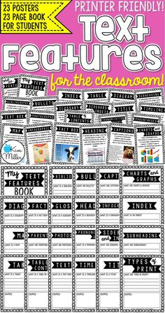 Give your students visual reminders of non-fiction text features with these 23 classroom posters! Each poster comes with a title of the text feature, description, and illustration. This resource also includes a 23-page student booklet.