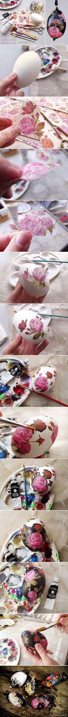 Black decoupage Easter egg tutorial (print-room) / Czarna pisanka decoupage krok po kroku