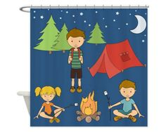 camping kids shower curtain