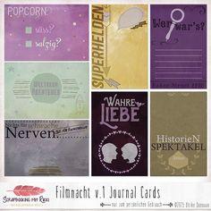 Digitale Downloads - Filmnacht 4x6 Journaling Karten - ein Designerstück von Rikki_Donovan bei DaWanda