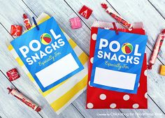 Pool Party Snack Tags
