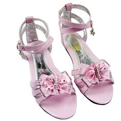 These adorable shoes will look so cute on your little one! this Vivid Flower Girls kids sandals is Strappy and adorned in rhinestones topped off with a gorgeous bow at the middle straps. Features a little kitten heel. The perfect shoe for a wedding , pageant or dress up! Price US$9.50
