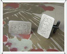 Manchetknopen * Zilveren knopen met handgravure van de 3 kinderen * Maatwerk *