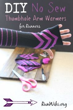 DIY easy No Sew Thumb Hole Arm Warmer= this craft idea is an essential clothing item for someone running in the fall, winter and cold weather months. You can get the socks for less than a dollar, so if you need to wear them during a half marathon or training for one you wont feel bad tossing them after you warm up. Would make a great Christmas gift for a runner or fitness person. runners hack   tips   5k  10K Training