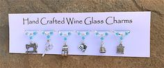 Sewing themed Wine Glass Charms - Gifts for her - Needlecraft - Christmas Gifts - Stocking Fillers - Silver Rings With Stones, Charm Rings, Wine Glass Charms, Silver Charms, Dressmaking, Gifts For Her, Christmas Gifts, Charmed, Sewing