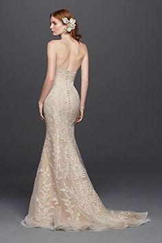@> Novelty Oleg Cassini Strapless Lace Sheath Wedding Dress Style CWG738, Ivory, 6