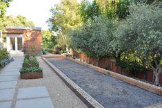 bocce ball court modern landscape by Huettl Landscape Architecture
