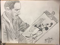 Folks.... as you come to know... it all started with a mouse. Here Walt Disney proudly sketches Steamboat Willie. Walt was an inspiration to many and he made what seemed to be impossible, possible. I loved sketching this and felt funny signing my name to it because Walt is drawing the picture. LOL...!!!
