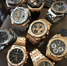 Audemars Piguet Collection: 6 Derivatives of the Royal Oak Offshore Chronograph along the top, with a Royal Oak on the bottom left, Royal Oak Chronograph bottom/center, and a Royal Oak Openworked peaking out on the bottom/right. Fancy Watches, Expensive Watches, Luxury Watches For Men, Cool Watches, Rolex Watches, Dream Watches, Patek Philippe, Amazing Watches, Beautiful Watches