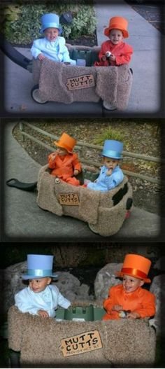 OMG. cutest halloween outfits ever! I'm so doing this with my children. You know, since my grandma told me I was going to have twin boys and all... Thanks gram.