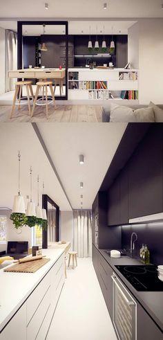 aménagement cuisine avec une table haute en bois et des tabourets de ba