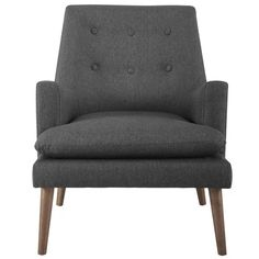 Unwind from daily stresses in the welcoming arms of the mid-century modern Leisure Lounge Chair. Upholstered Arm Chair, Armchair, Big Sofas, Inexpensive Furniture, Grey Chair, Chair Pads, Mid Century Style, Tufting Buttons, Toss Pillows