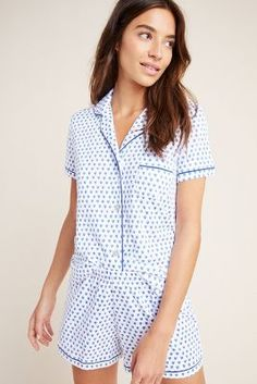 Roller Rabbit Hearts Sleep Set by in Blue Size: Xs, Women's Lounge at Anthropologie Navy Shirt Dress, Roller Rabbit, Sleep Set, Linen Blouse, Pull On Pants, Wool Cardigan, Dress Brands, Capsule Wardrobe, Lounge Wear