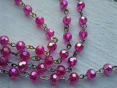 18 Inches 6 mm Faceted Round  AB Hot Pink  Glass Beaded by zzlaca, $6.85