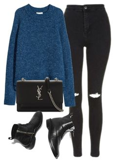 """""""Untitled #7142"""" by laurenmboot ❤ liked on Polyvore featuring Topshop, H&M and Yves Saint Laurent"""