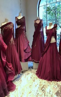 New Dress Outfit Maroon Beautiful Ideas Indian Designer Outfits, Indian Outfits, Designer Dresses, Indian Wedding Gowns, Indian Gowns Dresses, Bridal Outfits, Dress Outfits, Lehnga Dress, Dress Skirt