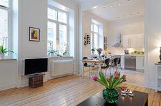 Swedish 58 Square Meter Apartment Interior Design with Open Floor Plan | DigsDigs
