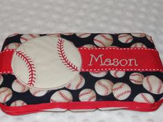 Personalized Baby wipe case  Baseball by AdorableCreationsbyC, $15.00