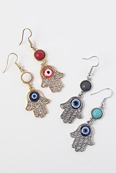 Rhinestone Hamsa Hand Earrings