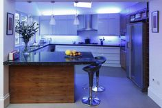 White And Purple Kitchen Lighting Ideas Hang Pendant Lamps And In Cupboard Underneath - pictures, photos, images