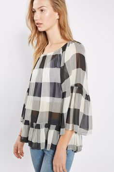 **Gingham Check Bardot Blouse by Glamorous - New In- Topshop Europe