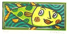 Green Fish, linocut by Mike Levy