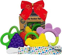 Baby Teether Toys - Ike  Leo Teething Toys Baby Infant and Toddler WITH Pacifier Clip  Teether Holder Best for Sore Gums Pain Relief Eco Friendly BPA Free  Freezer Safe Set of 4 Silicone Teethers -- Be sure to check out this awesome product.