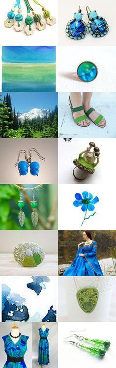 Blue and Green by Marlena Rakoczy on Etsy--Pinned with TreasuryPin.com