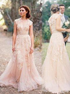Custom Made V Neck Lace Wedding Dresses 2017 Puffy Bridal Gowns ... dcbae74af
