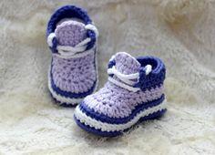 Crochet Baby Girl Sneakers Shoes Crochet Baby Girl ♡ by LoopsInBloom