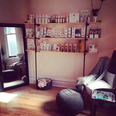 Retail shelves at Blush & Black Spa in Almonte.  If we don't have your favorite Eminence product, we will special order it for you :) www.blushandblack.ca