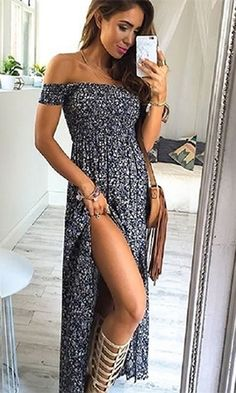 In My Glory Blue Ivory Ditsy Floral Smocked Short Sleeve Off The Shoulder Thigh Slit Pleated Maxi Dress
