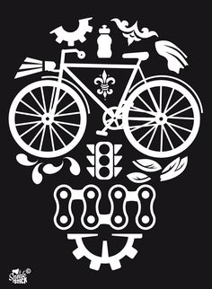 Black Skull Cog Bicycle Reflective Stickers Decals