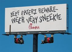 The OBIE Awards is the ad industry's oldest creative design award. It recognizes designs produced for outdoor advertising campaigns and is awarded by the Outdoor Advertising Association of America (OAAA). Check out some of the finalists. Chik Fil A Cow, Eat Mor Chikin, Cow Wallpaper, Restaurant Promotions, Cute Cows, Funny Animal Pictures, Animal Pics, Outdoor Signs, Good Smile