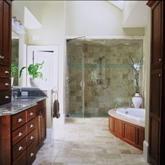 Love the sky light and shower for two.  This is a glorious bathroom.