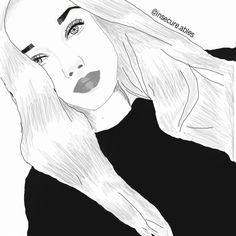 Discover The Secrets Of Drawing Realistic Pencil Portraits Tumblr Girl Drawing, Tumblr Drawings, Girl Drawing Sketches, Tumblr Art, Cute Girl Drawing, Girly Drawings, Outline Drawings, Pencil Art Drawings, Illustration Sketches